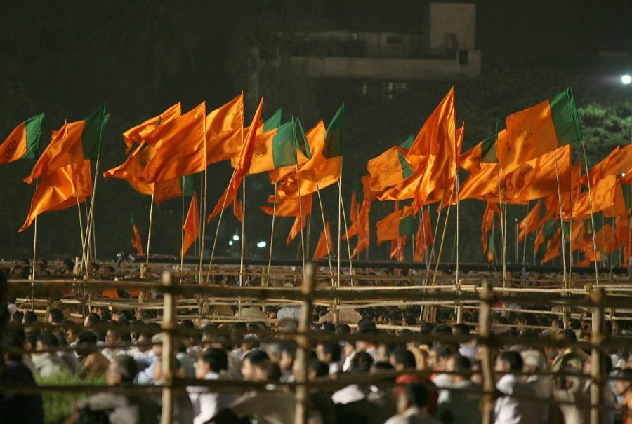 BJP and Shiv Sena flags