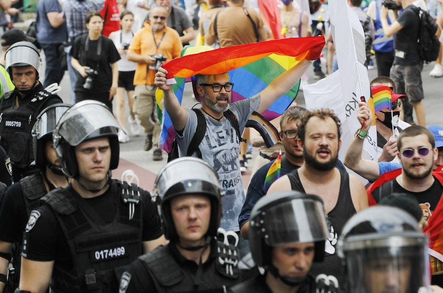 Participants and security at Kyiv's LGBT pride march