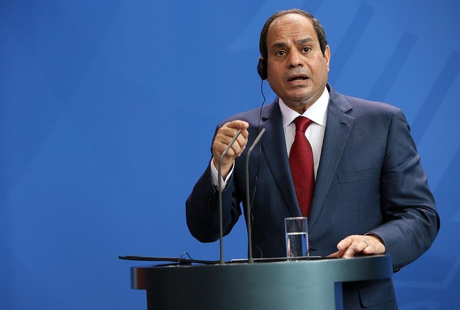 Egyptian president Abdel Fattah al-Sisi makes a speech