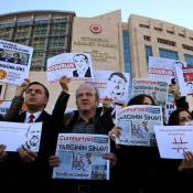 Demonstrators outside Istanbul court