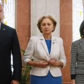 Moldova's president, speaker of the parliament, and prime minister stand together.