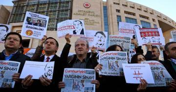 Demonstrators outside Istanbul court